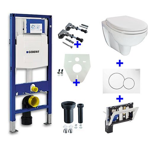 Toiletset Hangend 320-1 Geberit UP320 Inbouwreservoir Glans Wit Wandcloset Softclose Toiletbril Sigma 01 Bedieningsplaat Wit