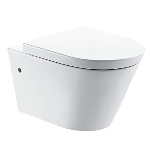 Toiletpot Hangend Firius Wandcloset Keramiek Diepspoel Nano Coating EasyClean Rimfree Glans Wit met Softclose Toiletbril