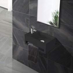 Fontein Toilet - Toiletmeubel WC Solid Surface 36x16cm - Mat Zwart Links