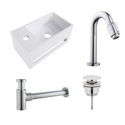 Fonteinset Yano Solid Surface Links 36x20x16cm Toiletkraan Knop Clickwaste Sifon Chroom