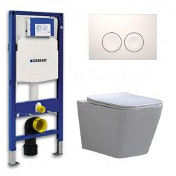 Geberit UP 100 Toiletset - Inbouw WC Hangtoilet Wandcloset - Flatline Alexandria Delta 21 Wit