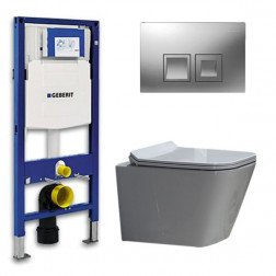 Geberit UP 100 Toiletset - Inbouw WC Hangtoilet Wandcloset - Flatline Alexandria Delta 50 Mat Chroom