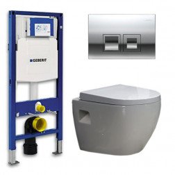 Geberit UP 100 Toiletset - Inbouw WC Hangtoilet Wandcloset - Daley Delta 50 Glans Chroom