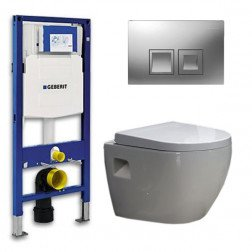 Geberit UP 100 Toiletset - Inbouw WC Hangtoilet Wandcloset - Daley Delta 50 Mat Chroom