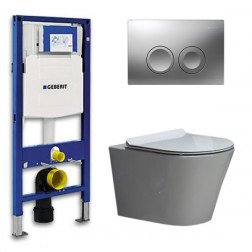 Geberit Toiletset Saturna Flatline Rimfree Softclose Toiletbril Delta 21 Mat Chroom