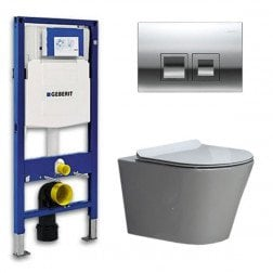 Geberit Toiletset Saturna Flatline Rimfree Softclose Toiletbril Delta 50 Glans Chroom