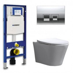 Geberit UP 100 Toiletset - Inbouw WC Hangtoilet Wandcloset- Flatline Saturna Delta 50 Glans Chroom