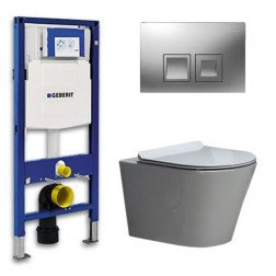 Geberit Toiletset Saturna Flatline Rimfree Softclose Toiletbril Delta 50 Mat Chroom