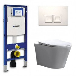 Geberit UP 100 Toiletset - Inbouw WC Hangtoilet Wandcloset- Flatline Saturna Delta 50 Wit
