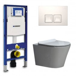 Geberit Toiletset Saturna Flatline Rimfree Softclose Toiletbril Delta 50 Wit