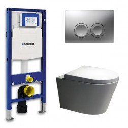 Geberit Toiletset Saturna Rimfree Softclose Toiletbril Delta 21 Mat Chroom