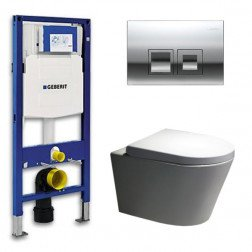 Geberit Toiletset Saturna Rimfree Softclose Toiletbril Delta 50 Glans Chroom