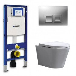 Geberit Toiletset Saturna Rimfree Softclose Toiletbril Delta 50 Mat Chroom
