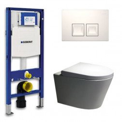 Geberit Toiletset Saturna Rimfree Softclose Toiletbril Delta 50 Wit