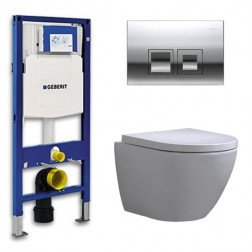 Geberit Up 100 Toiletset – Inbouw WC Hangtoilet Wandcloset - Shorty Delta 50 Glans Chroom