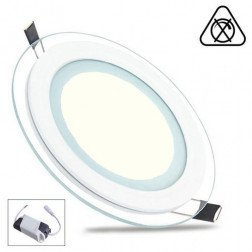 LED Paneel / Downlight Set 6w 3000k Warm Wit Rond Inbouw Glas Armatuur Slim Spatwaterdicht