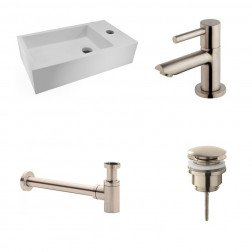 Fonteinset Nila Solid Surface Rechts 40x22x10cm Toiletrkaan clickwaste Sifon RVS