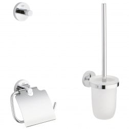 Toilet Accessoires Set Grohe Essentials 3 in 1 Handdoekhoek Toiletrolhouder en Toiletborstelhouder Chroom 1