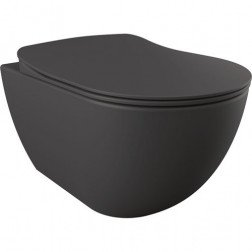 Toiletpot Hangend Creavit 51x35.5x29cm Rimfree Mat Antraciet met Softclose Toiletbril