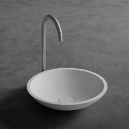Wastafel Opbouw Ideavit Solidfox Rond 35x35x9cm Solid Surface Mat Wit